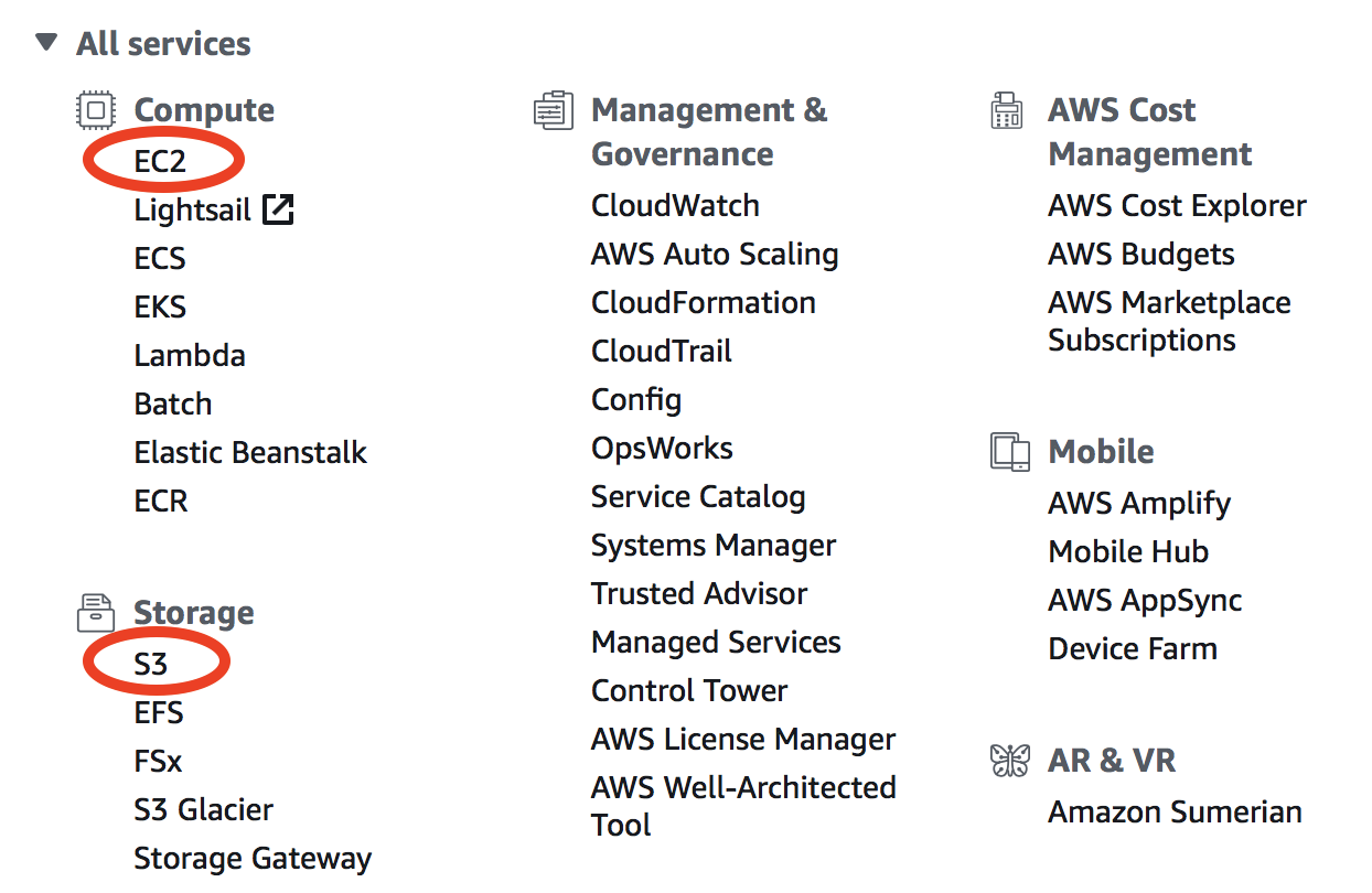 Overview of basic AWS compute and storage services — GEOS